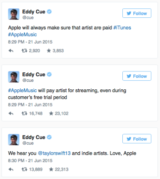 Eddie Cue of Apple Responds to Swift's Open Letter.